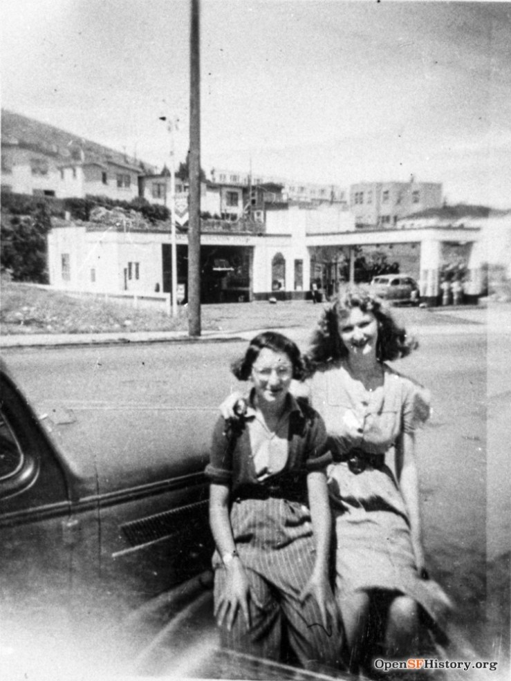 1940s. Two Strohmaier daughters in front of 755 Monterey Blvd. Hinks Garage (740) behind, now gone. OpenSFHistory.org