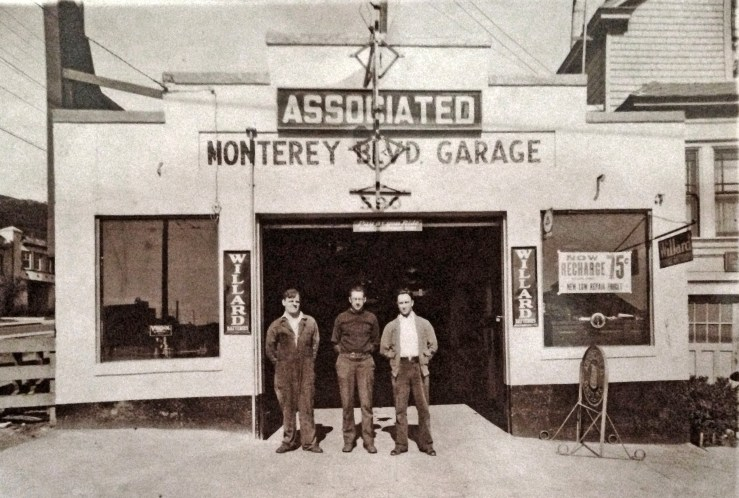 The Molinari brothers ran a garage at 590 Monterey in the 1940s. Courtesy Michelle Molinari.