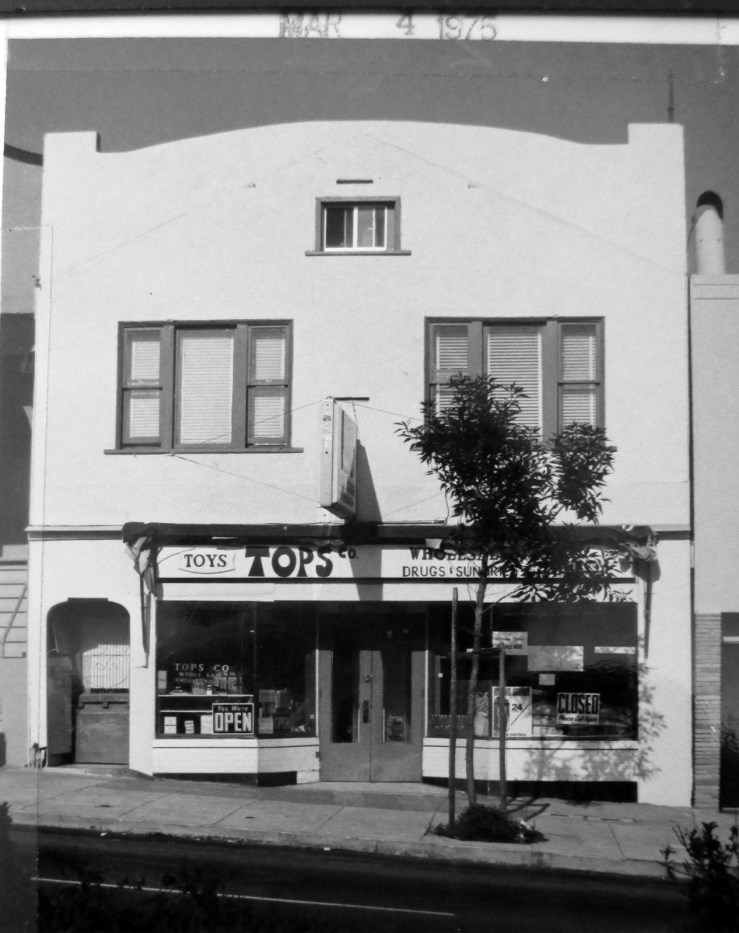1975. 570 Monterey Blvd. Tops Co, a variety and toy store that didn't last long. Before this it was Dimiceli's Grocery, 1920s to 1950s, then Skyline Grocery. Later it was El Mercadito Grocery. It was split into two shops. San Francisco Office of Assessor-Recorder Photographs Collection, San Francisco History Center, San Francisco Public Library sfpl.org/sfphotos/asr