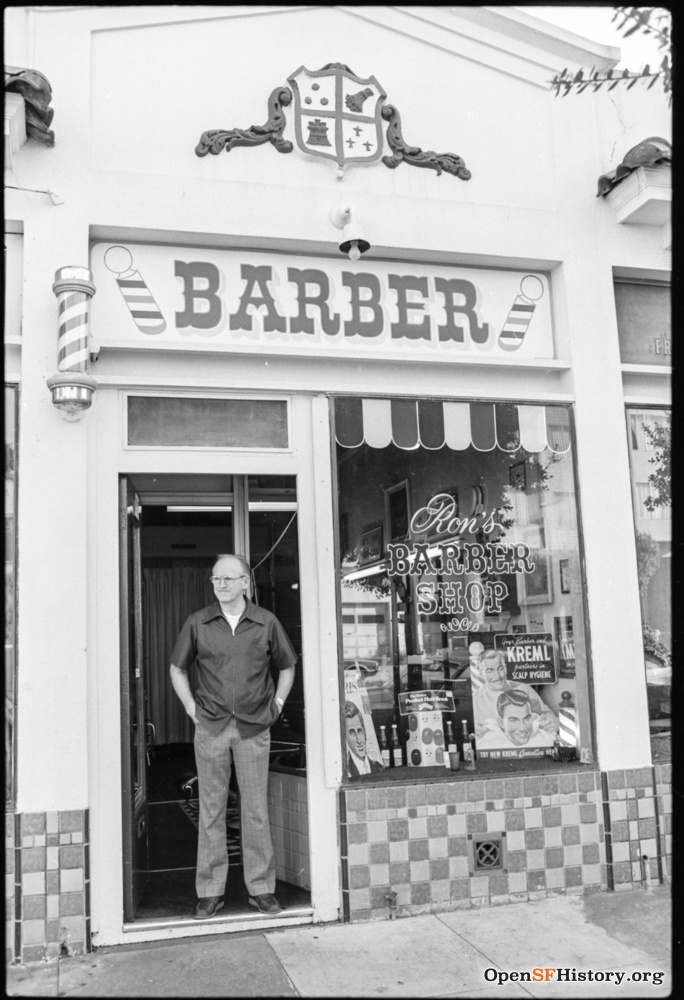 1980s. Ron Davis ran a barber shop at 719 Monterey for many years, and displayed many historic photos on the walls of his shop. OpenSFHistory.org