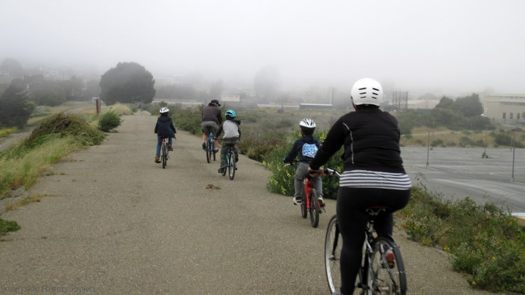 Foggy family ride. Balboa Reservoir, May 2020. Sunnyside History Project. Photo: Amy O'Hair