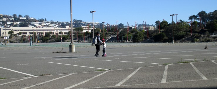 Rollerblade learner. Balboa Reservoir, Oct 2020. Sunnyside History Project. Photo: Amy O'Hair