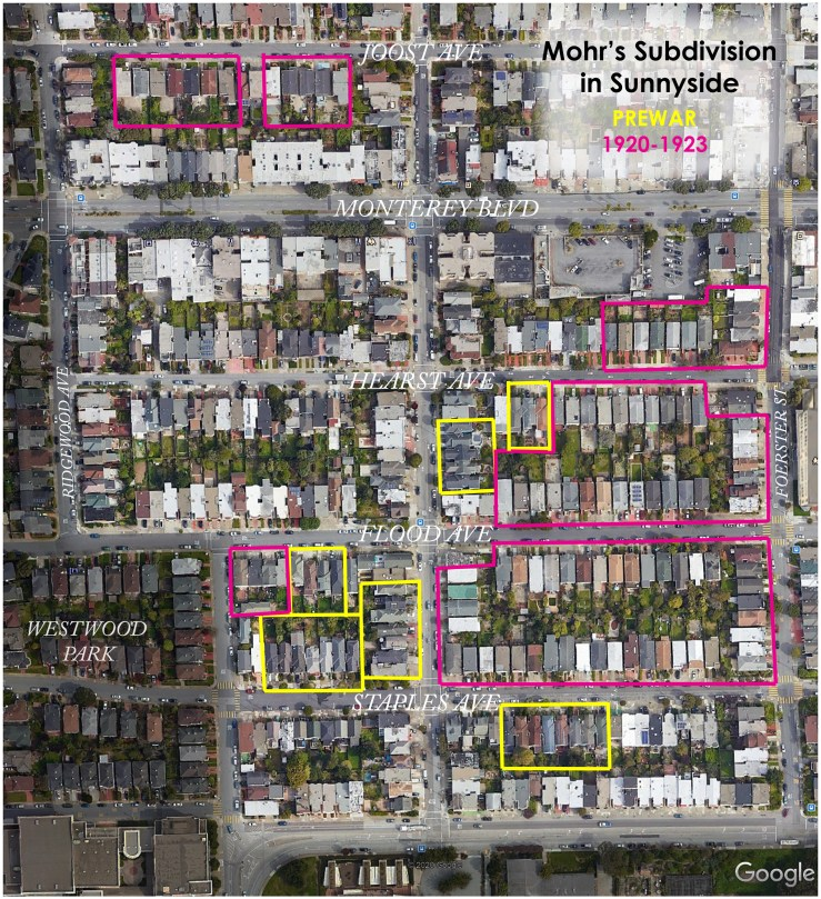 Areas in western Sunnyside where Rudoplph Mohr and Sons built, Mohr's Subdivision in 1920s (pink) and prewar construction (yellow). Graphic by Amy O'Hair using Google Earth image.