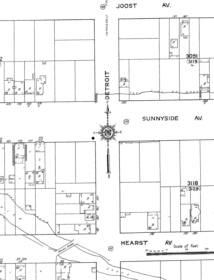 1915 Sanborn map of area around Monterey at Detroit Steps. Tiny indication of wooden stairway north of Monterey. Lower Steps yet to be built. Sheet 917. ProQuest.