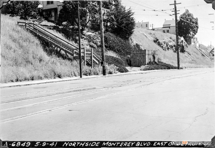 1941. Monterey at Detroit. Clear view of the old wooden stairs on the north side. This stair served only the house just above, which had the address 398 Monterey Blvd (gone for apt building now). OpenSFHistory.org