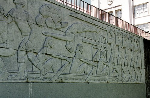 Sargent Johnson, Sports Frieze at Washington High School, San Francisco, 1942. LivingNewDeal.org