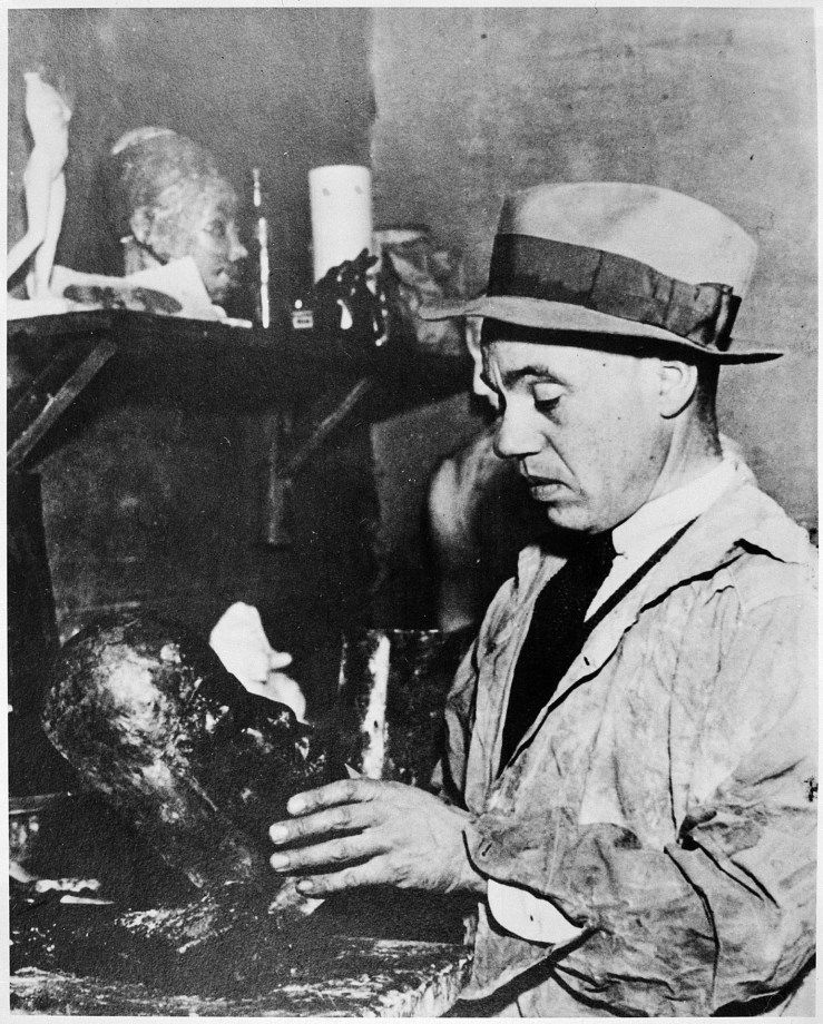 Sargent Johnson at his studio in Berkeley, California. Harmon Foundation Archives. National Archives and Records Administration.