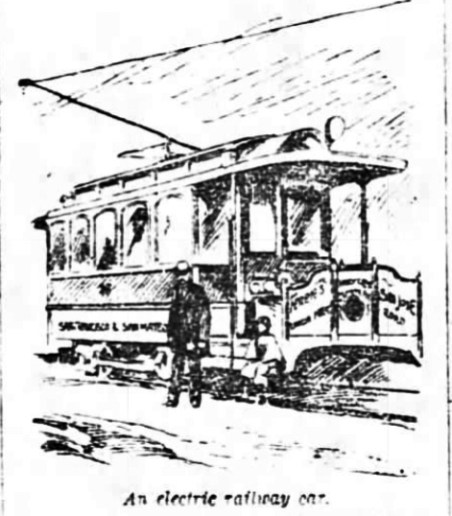 Electric Streetcar, SF Chronicle, 27 Apr 1892.
