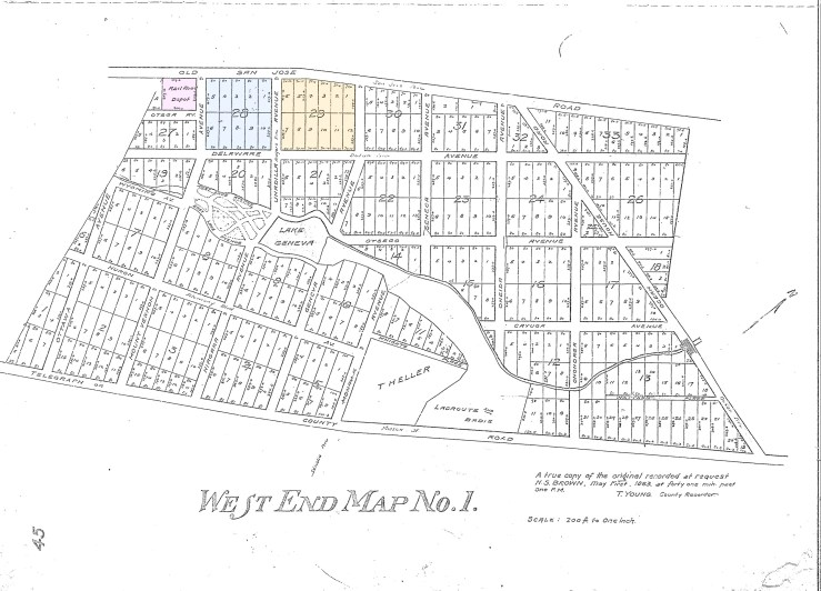 1863. West End Map No.1, plat map filed by Harvey S Brown with the City and County of San Francisco. Two blocks owned by Mary Ellen Pleasant for periods between 1855 and 1900 I have marked yellow and blue. Railroad depot adjacent in pink. Dept Public Works.