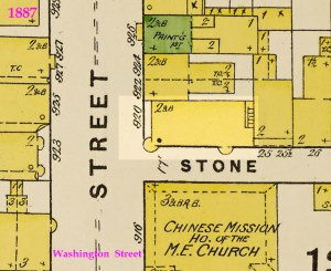 1887 Sanborn map showing the boarding house at 920 Washington Street, with circular bay windows. Lot is 24 x 57 feet. Current address of this lot is 962. Library of Congress.