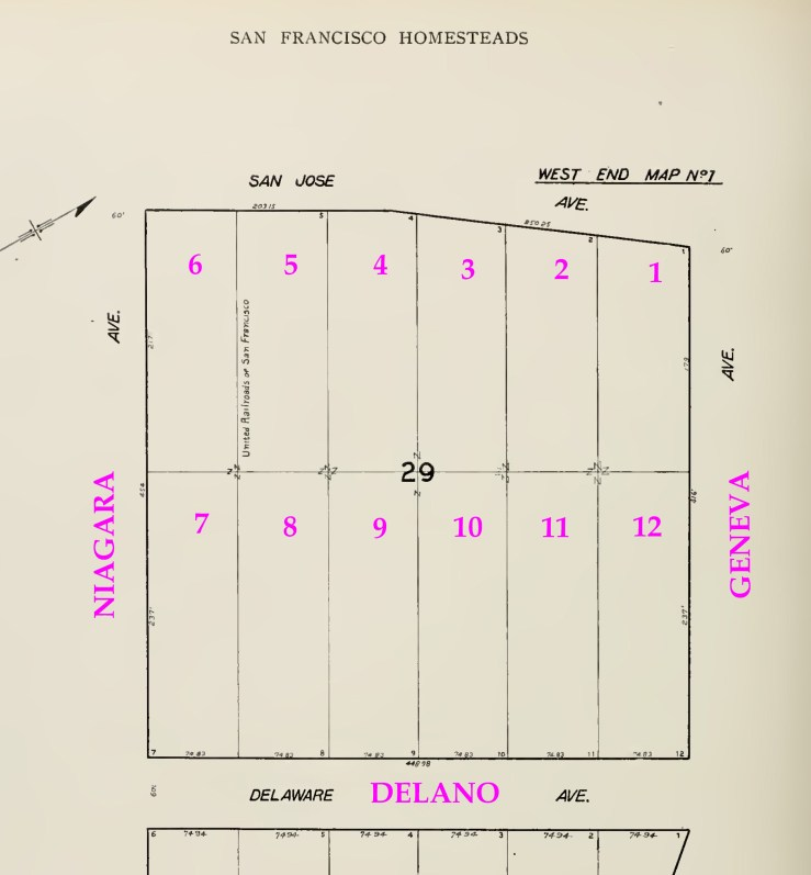1907 SF Block Book map of Block 29, West End Map No.1 Showing the lots as delineated then. Pleasant used the north half (right side), lots 1-3, 10-12, from 1855. She owned this property from 1868 to 1900. The south half (left side), lots 4-9, she purchased in 1894. She sold both sets of lots in May 1900. From Archive.org, marked.