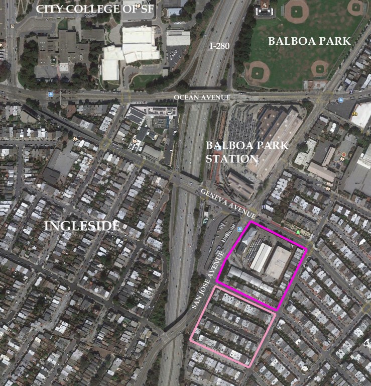Satellite image of area around Mary Ellen Pleasant's property at San Jose and Geneva Avenues, marked to show land she held 1855-1900. Block 29 (hot pink) and Block 28 (pale pink). Google satellite image.