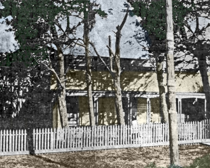Colorized version of the only known photo of Geneva Cottage, from SF Chronicle, 9 July 1899. Amy O'Hair.
