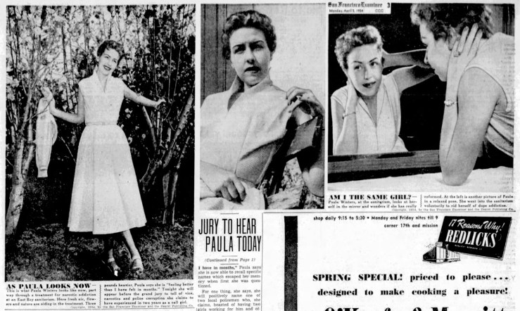Restored to acceptable womanhood; Paula Winters after rehab. SF Examiner, 5 Apr 1954.