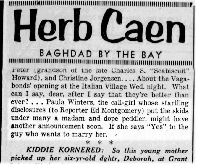 Herb Caen took an interest. SF Examiner, 24 Sep 1954.