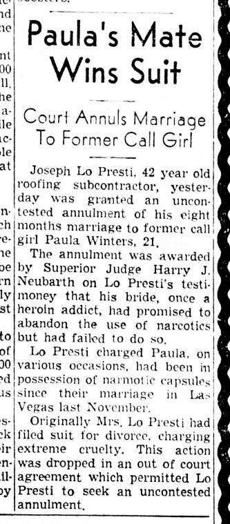 Joe LoPresti wins his countersuit and annulment. SF Examiner, 3 Jun 1955.