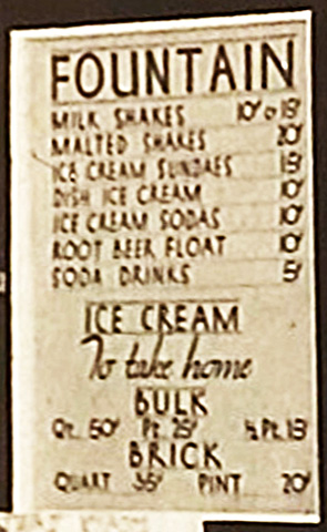 Menu from Bruno's Creamery, about 1940. I dated this by comparing the prices with other menus of the time. From the 1940 photo at the beginning of this article. Photo courtesy Marilyn Cappa Kennedy.