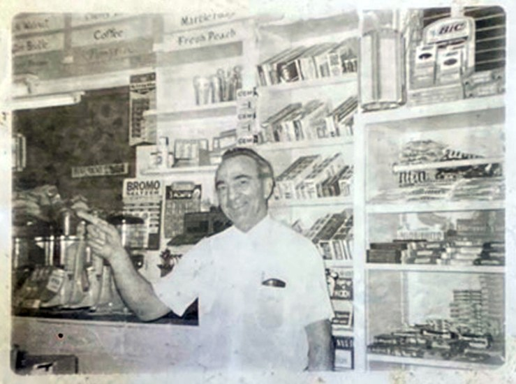 Bruno Cappa behind the counter. Bruno's Creamery, about 1965. Photo courtesy Marilyn Cappa Kennedy.