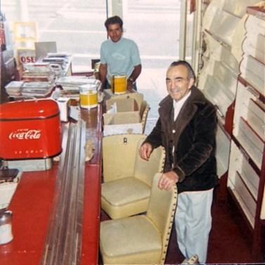 Interior, Bruno's Creamery, about 1973. Bruno Cappa foreground, preparing to retire. Photo courtesy Marilyn Cappa Kennedy.