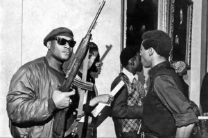 1967, California State Building, Sacramento CA. On the occasion of a hearing about restricting gun rights in response to Black Panther self-defense tactics.