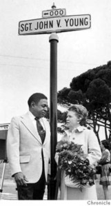 Supervisor Terry Francois and Geraldine Young at the dedication of Sgt John V Young Lane in Balboa Park, two years after the event. SF Chronicle.