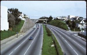 1972. Looking north from Roanoke/Cuvier footbridge toward Richland Bridge, Bernal Cut, San Francisco. Photo courtesy SFMTA sfmta.photoshelter.com