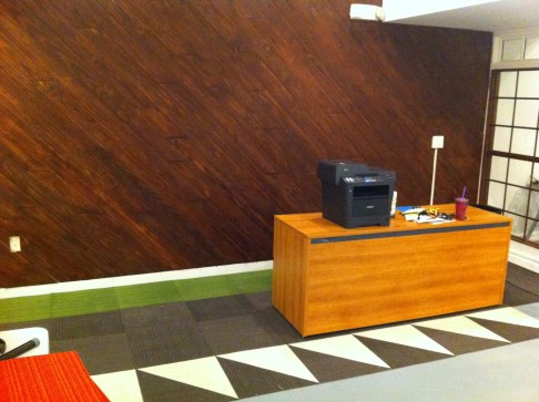 Carpet Tile and Wood Feature Wall