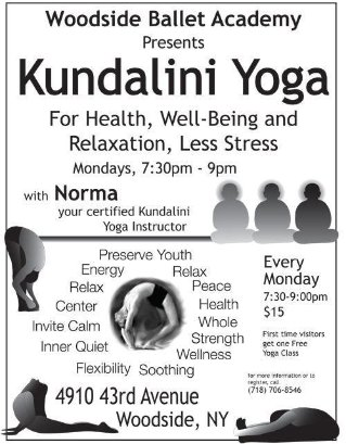 This is an image of a flyer that Deanna Yildiz created to distribute class information for a Kundalini Yoga class. She created the illustrations and type-set the design.