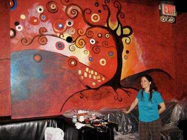 Art wall mural in progress with artist Deanna Yildiz for Club Zen, Midtown Manhattan