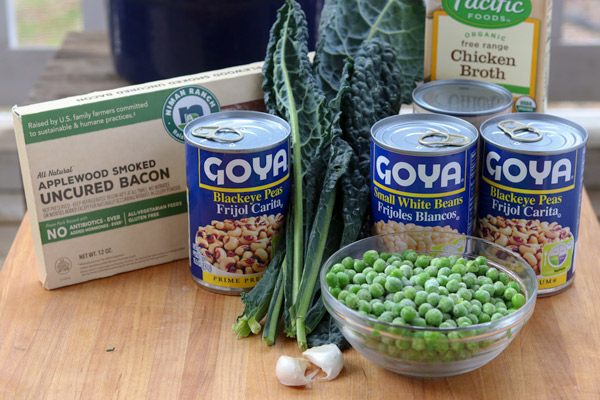 Easy Bacon, Black Eyed Pea and Kale Soup