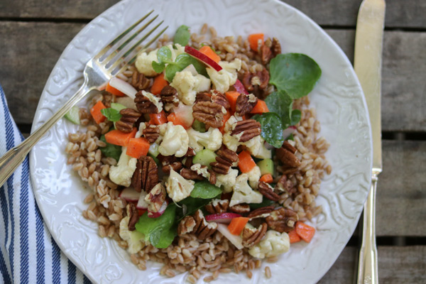 Easy crisp veggie salad over farro
