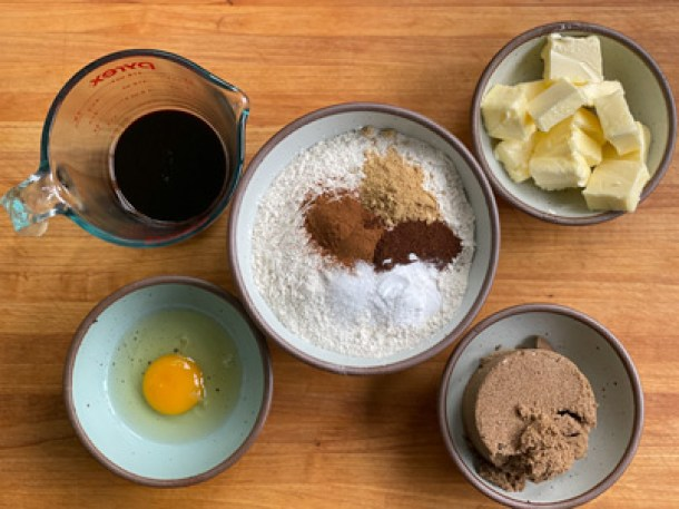 Ingredients for Molasses Spice Cookies
