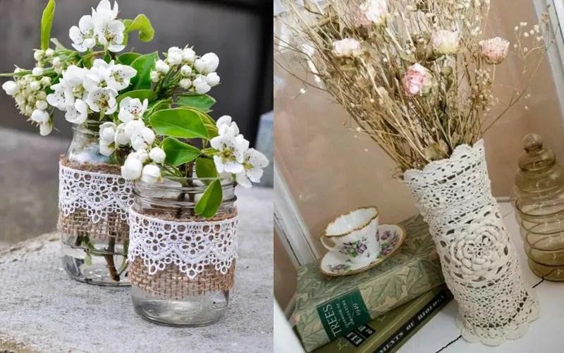 aeecfe7890a Nemenej krásna a pôvabná sa ukazuje váza zdobená čipkou a stuhami. Na  lepenie materiálov na povrch vázy môžete použiť horúcu taveninu, moment,  PVA.