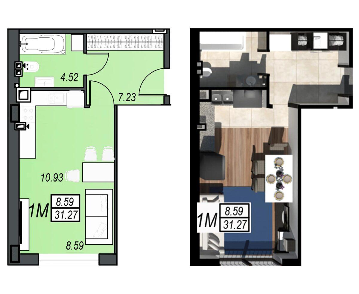 Планировка квартиры: 44
