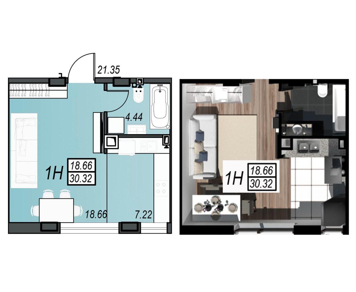 Планировка квартиры: 100