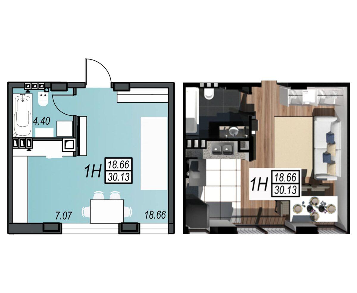 Планировка квартиры: 52