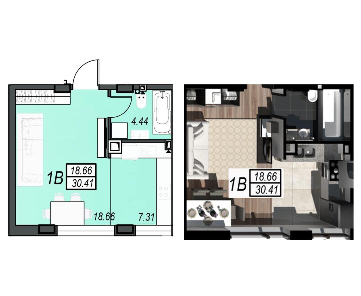 Планировка квартиры: 62