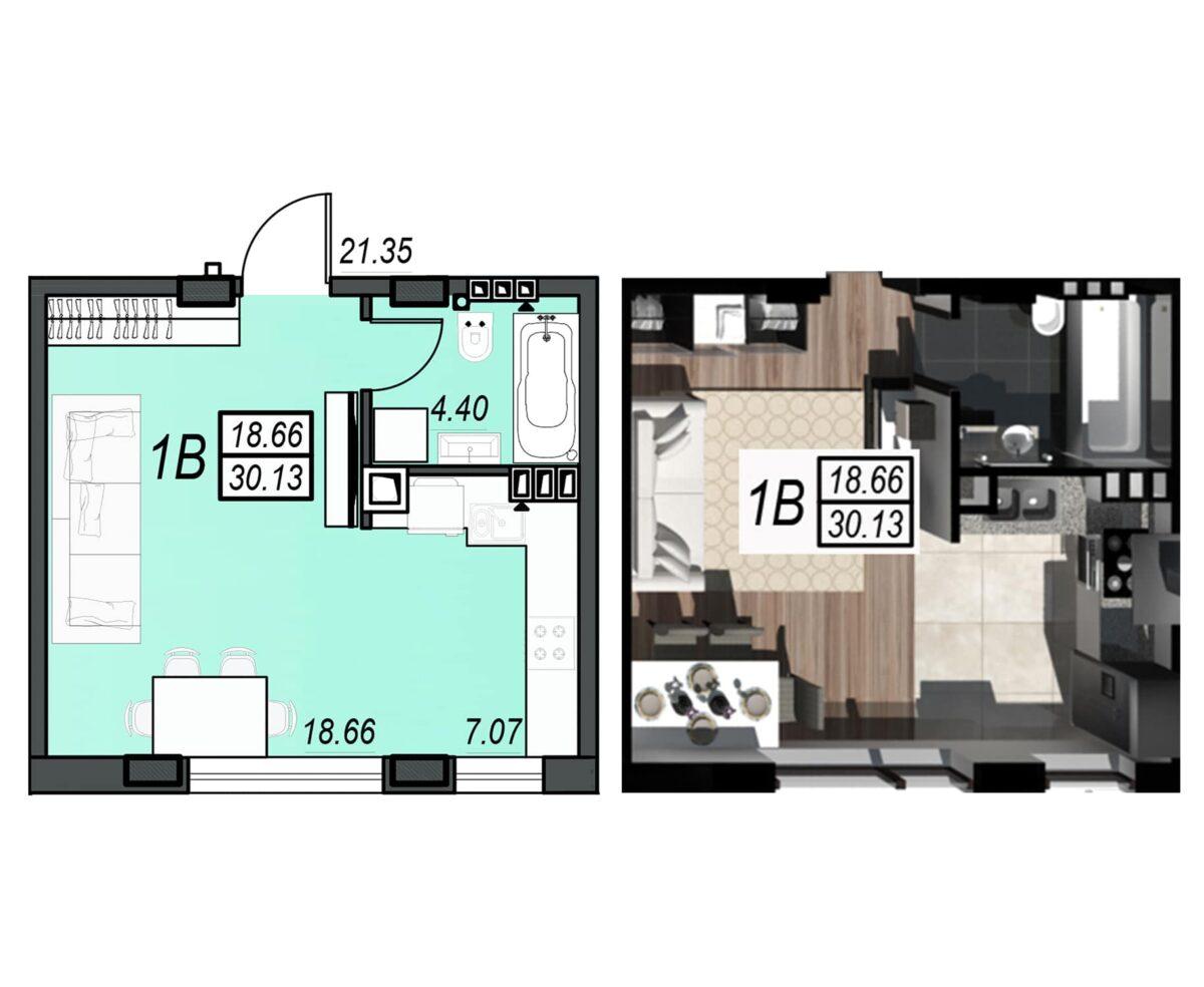 Планировка квартиры: 72