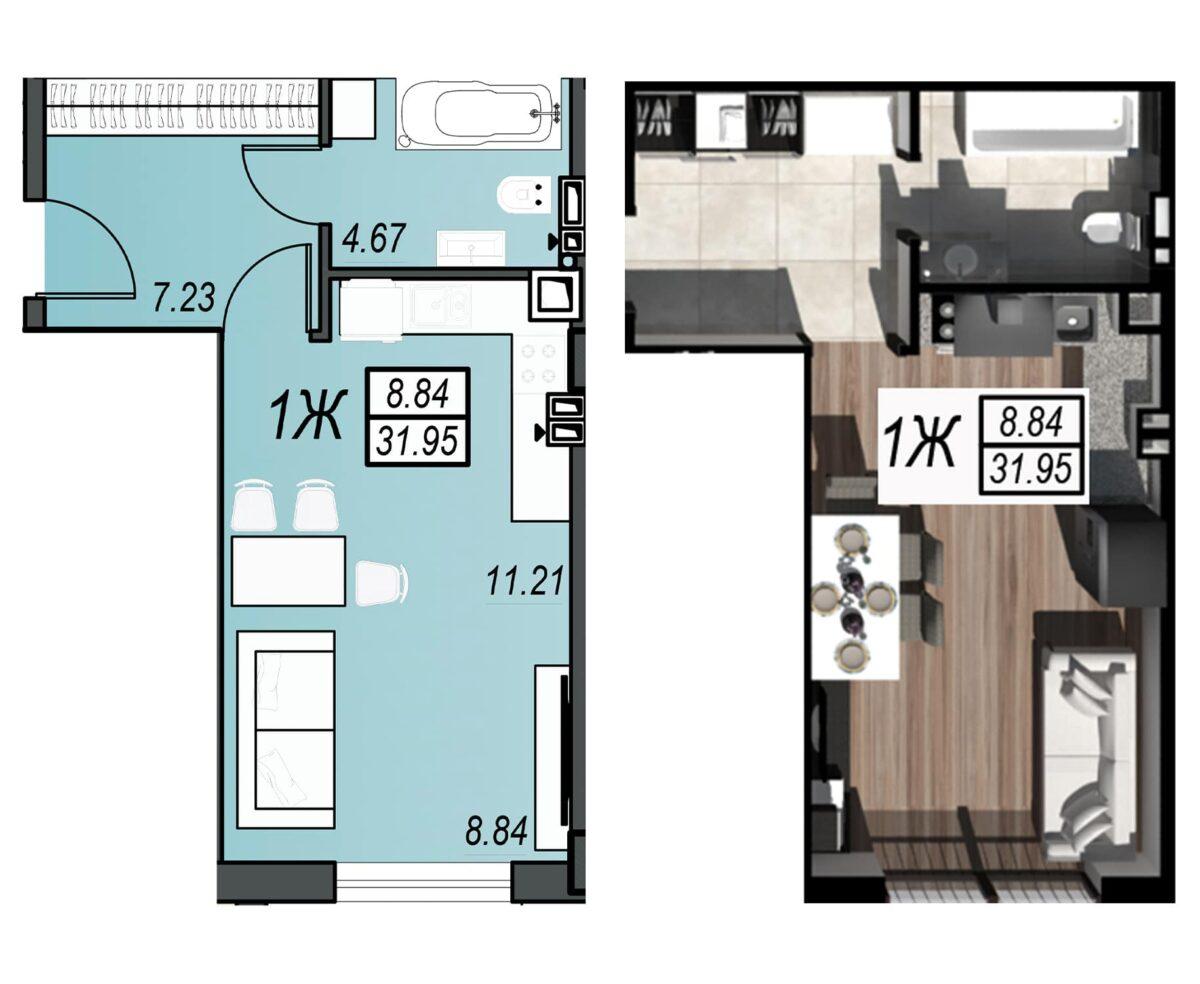 Планировка квартиры: 85