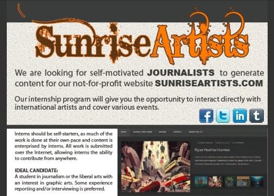 journalism internship at Sunrise Artists Magazine