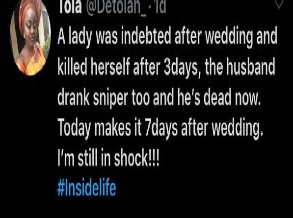 Newly wedded couple commit suicide over wedding debt