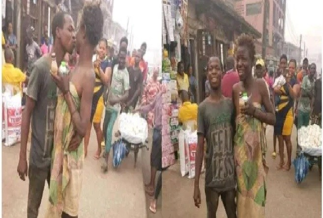Mentally challenged couple kiss in the market square to mark Valentine's day (Photos)