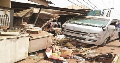 A lady killed as bus rams into shops in Umuahia