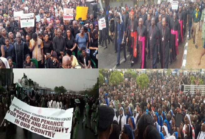 Catholic priests lead members in protest about insecurity in Nigeria (Photos)