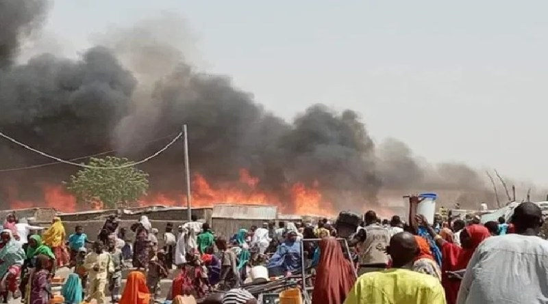 Just In: 14 dead, houses destroyed, as fire razes IDPs Camp in Borno (photos)