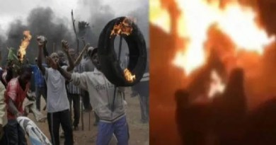COVID-19 Lockdown: Surulere youths catch '1 million boy' set them on fire in Lagos (video)