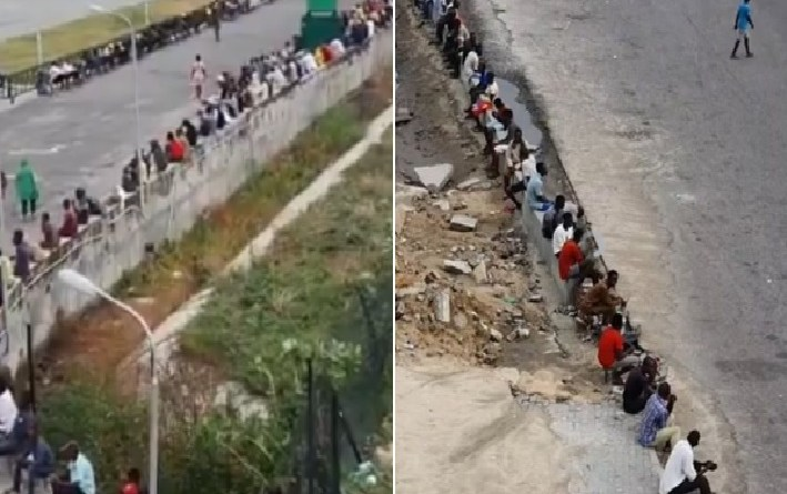 Lockdown: Long queue as people wait for food from a rich man in Lagos (Video)