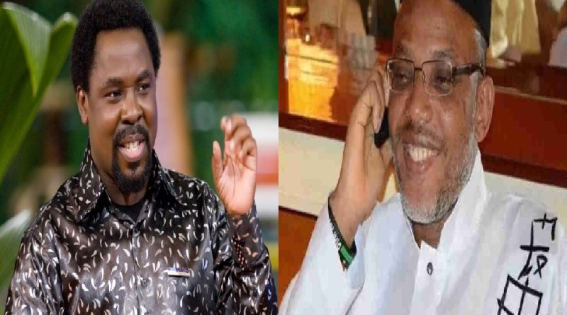 T. B Joshua sends a prophetic declaration to Nnamdi Kanu, says God will lift him up