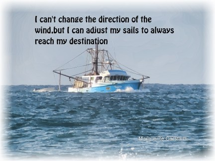 I can't change the direction of the wind,but I can adjust my sails to always reach my destination