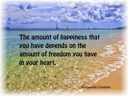 The amount of happiness that you have depends on the amount of freedom you have in your heart.